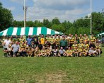 Old Boys under uprights at 40th D-town Reunion 2014